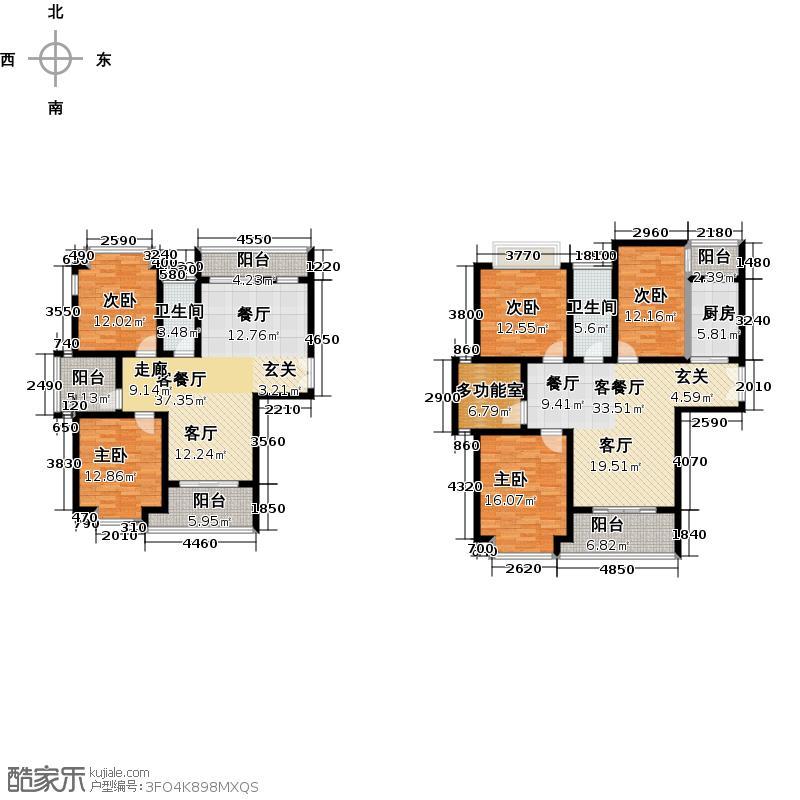 棕榈泉国际公馆二期二期C户型5室2厅2卫1厨