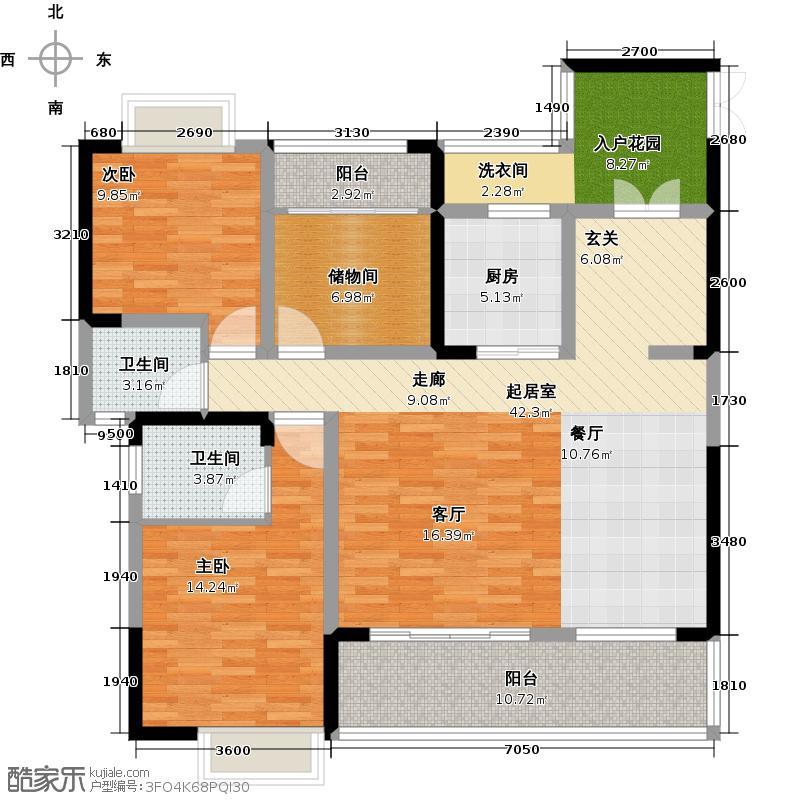天来国际广场134.80㎡A2户型 三室两厅两卫户型3室2厅2卫