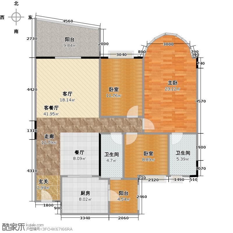 华南新城户型1室1厅2卫1厨