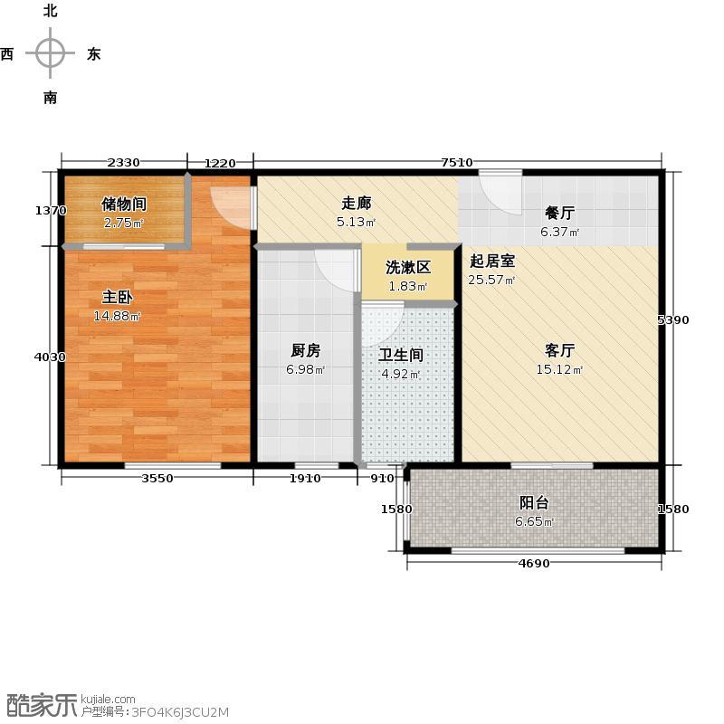 中海御景熙岸D3户型1室1卫1厨