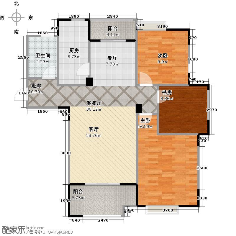 海亮首府户型3室1厅1卫1厨