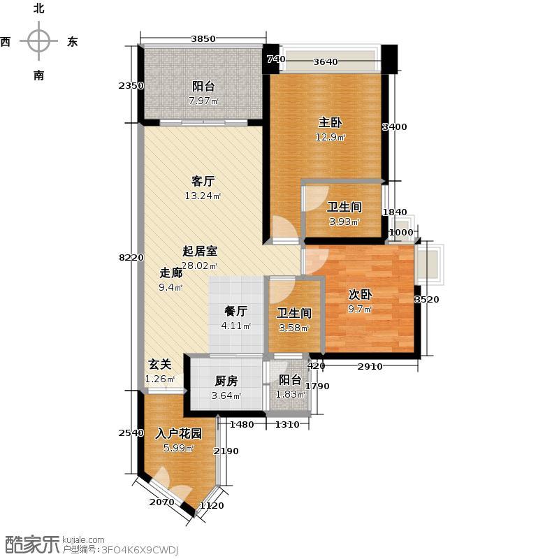 鸿洲时代海岸93.00㎡二室二厅二卫户型