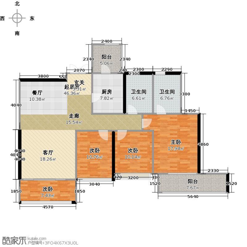 峻林138.00㎡B2栋01户型3室2厅2卫