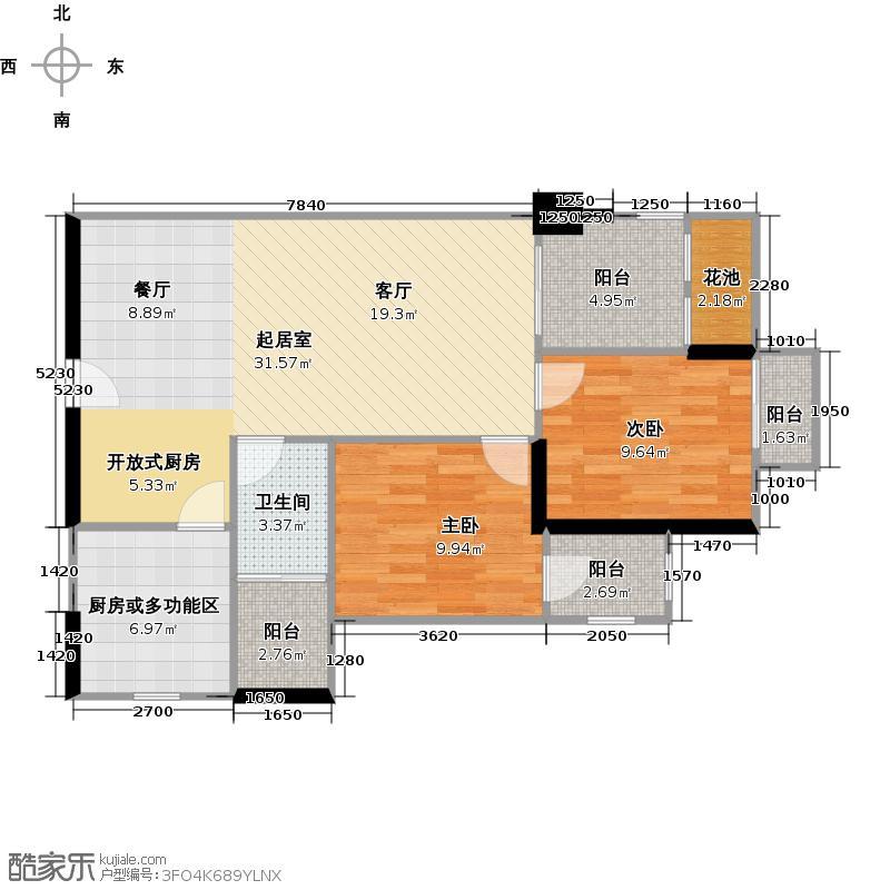 富基广场B1栋8-44层05户型2室1卫