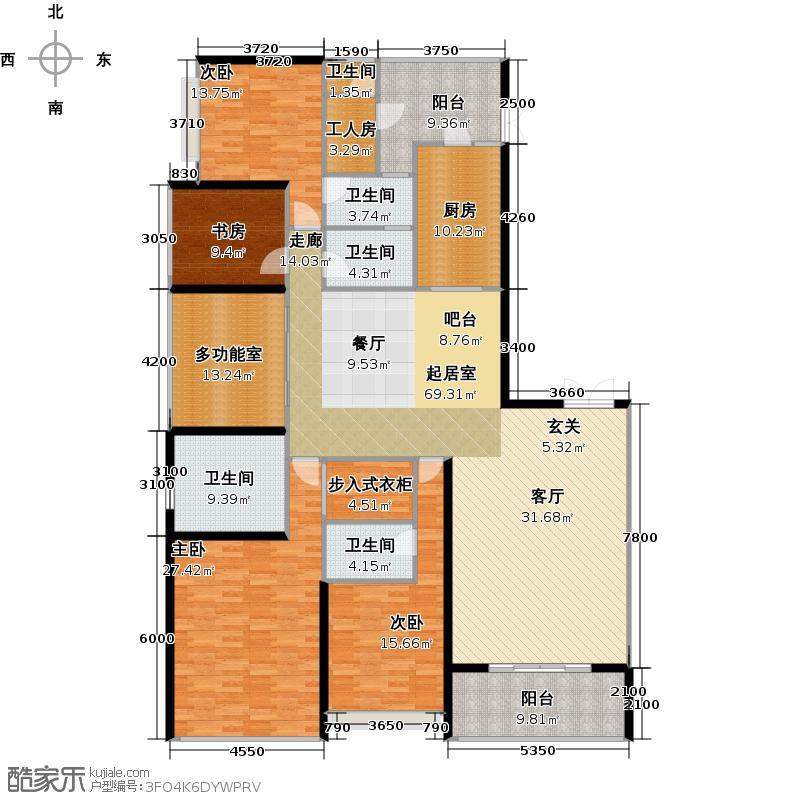 天銮264.30㎡A6栋01单位东南向户型4室2厅3卫