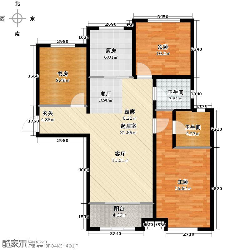 南国新大陆122.22㎡5号楼c户型 三室两厅两卫户型3室2厅2卫