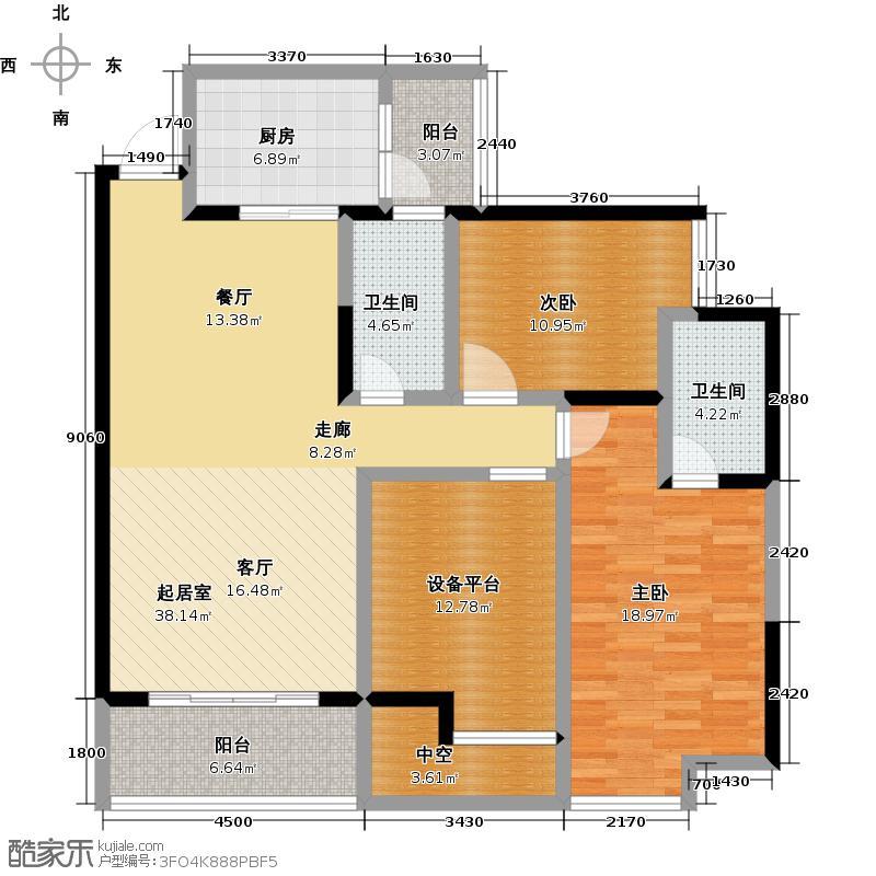 彰泰公园1号15#I4户型2室2卫1厨