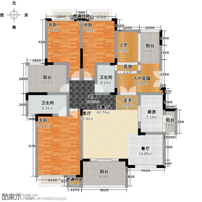 半山公馆一期花园洋房标准层C3户型3室1厅2卫1厨
