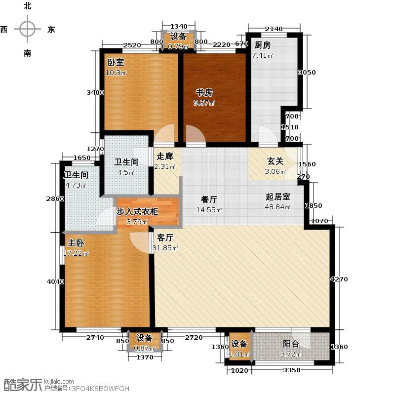 金地朗悦三期C奢景三居户型2室2卫1厨