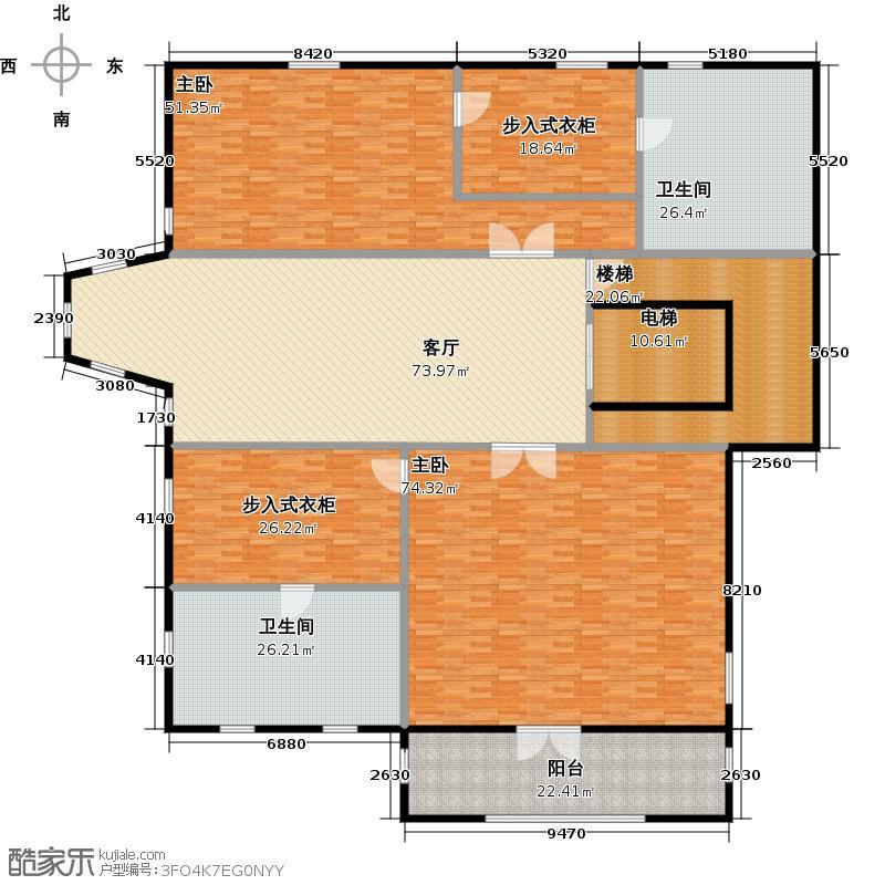 新江湾城首府一层户型2室1厅2卫