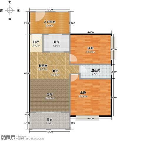 澳景蓝庭2室0厅1卫1厨96.00㎡户型图