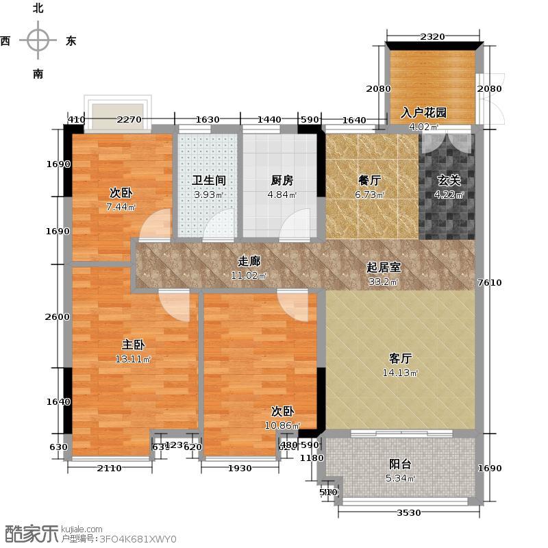 城央御景尚品12栋标准层02单元户型3室1卫1厨