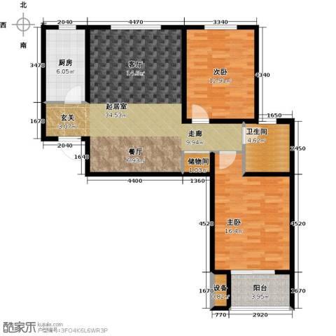 西城国际2室0厅1卫1厨91.00㎡户型图