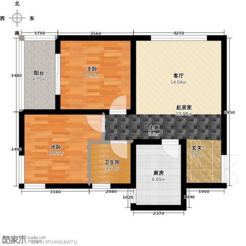 西城国际2室0厅1卫1厨70.00㎡户型图