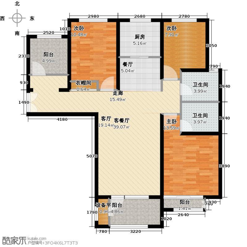 中铁秦皇半岛132.00㎡A4户型 三室两厅两卫户型3室2厅2卫