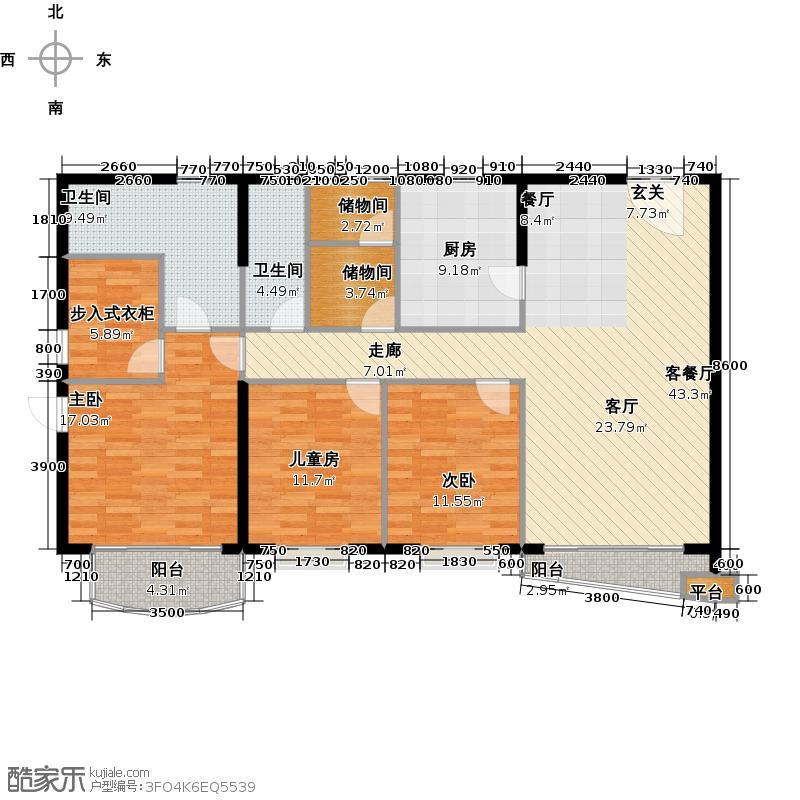 江尚东山A0226-28层户型3室1厅2卫1厨