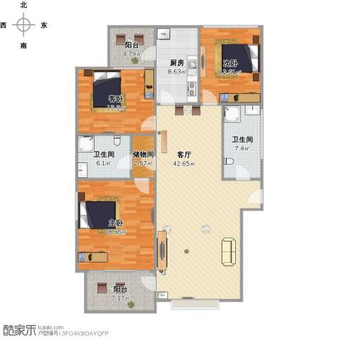 多蓝水岸银沙苑3室1厅2卫1厨166.00㎡户型图