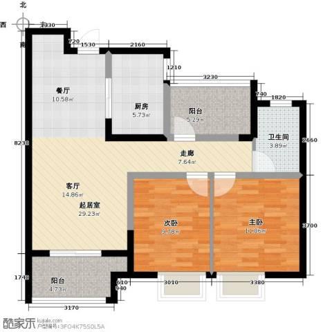 启迪方洲2室0厅1卫1厨81.00㎡户型图