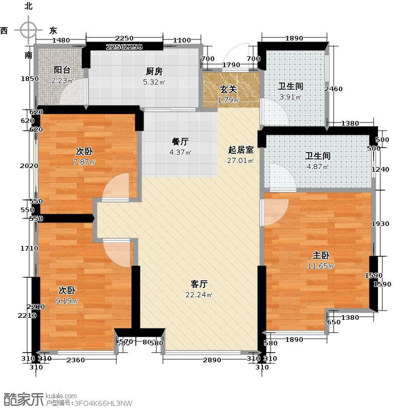 成功红树林2栋5号楼B5户型3室2卫1厨