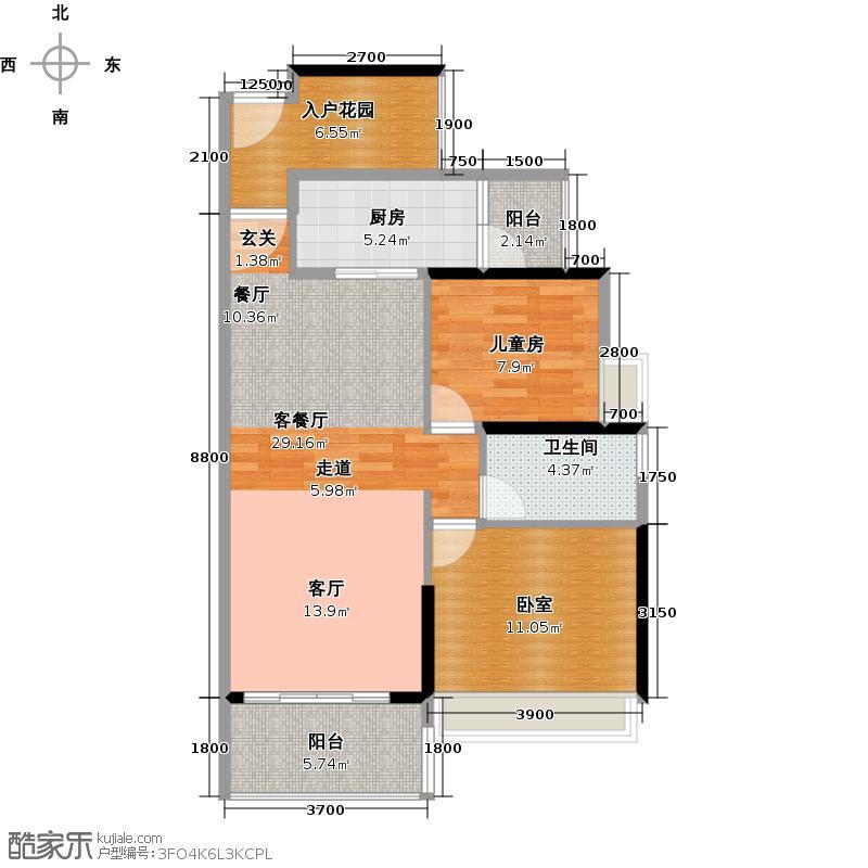 越秀・滨海�城7栋标准层01户型1室1厅1卫1厨