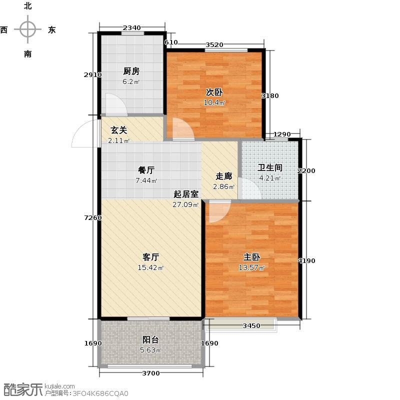 旭辉城B3户型2室1卫1厨