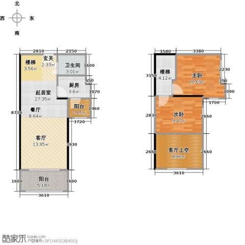 大旺・海印又一城2室0厅1卫1厨74.42㎡户型图