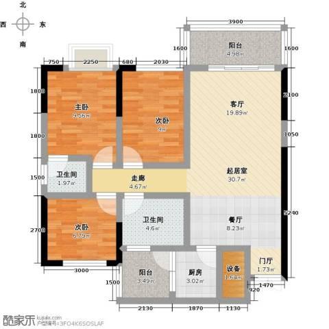 美集 财富时代3室0厅2卫1厨112.00㎡户型图