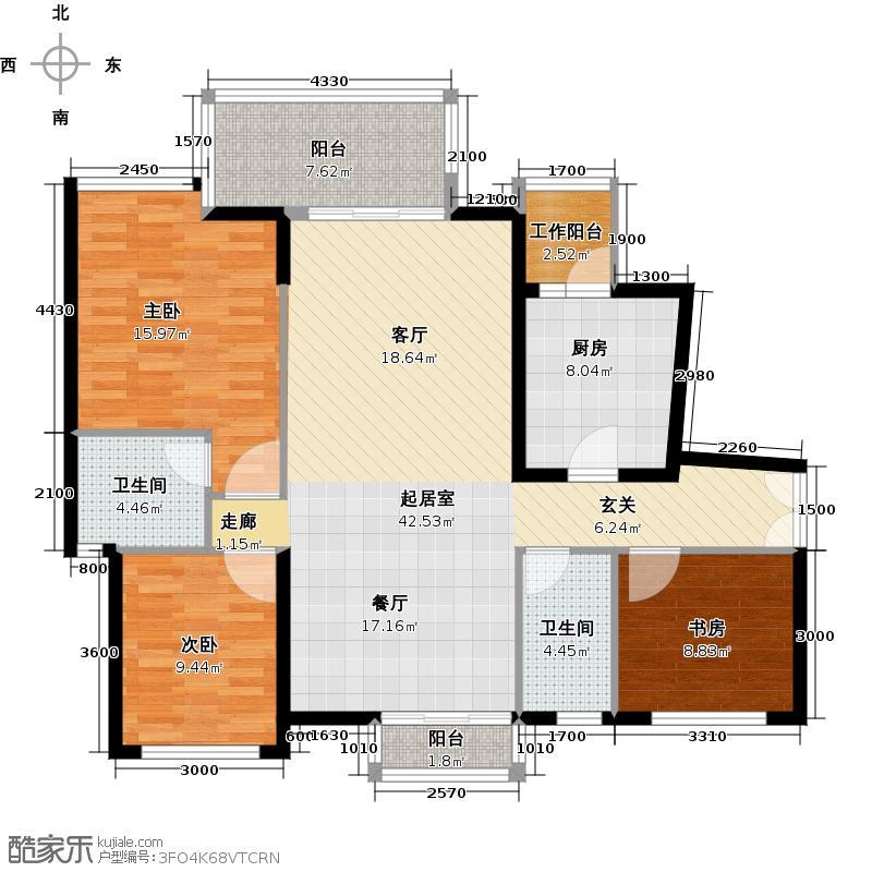 和黄珊瑚水岸110.00㎡二期2.7栋标准层2号房3室2厅2卫1厨户型3室2厅2卫
