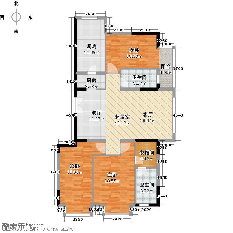 华远汤米公馆138.00㎡洋房户型3室2厅2卫