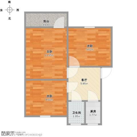 华家池校区3室1厅1卫1厨57.00㎡户型图
