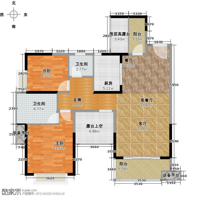 中熙香缤山1-2栋02-03型户型2室1厅2卫1厨