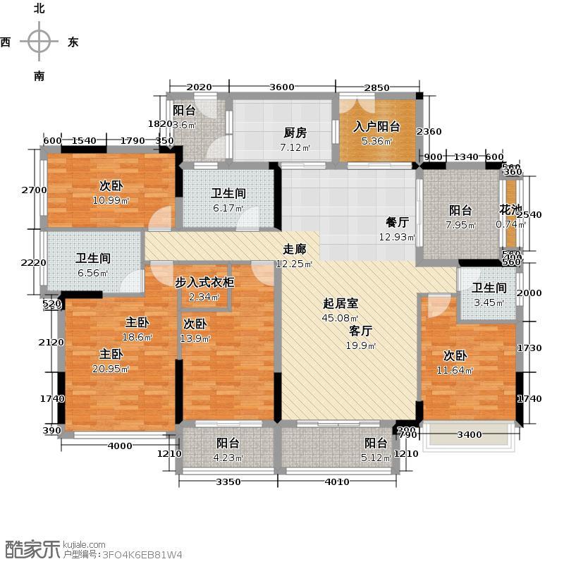 招商观园177.00㎡二期8-9栋2单元_10栋C-D型奇数层4房2厅3卫177㎡设计平面户型4室2厅3卫