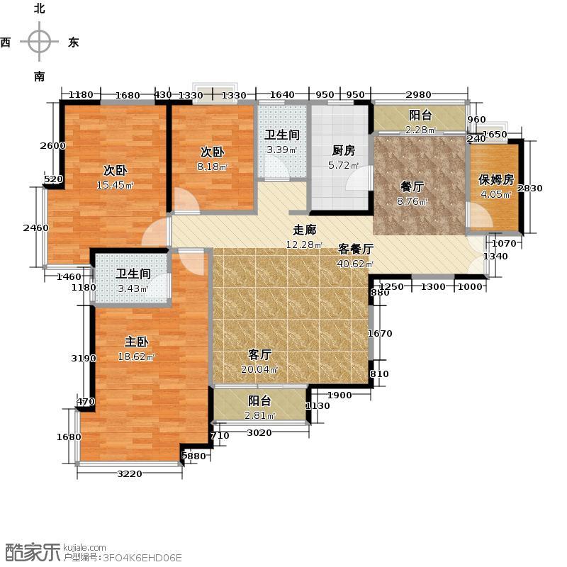 馨领域8-10栋B2型户型3室1厅2卫1厨