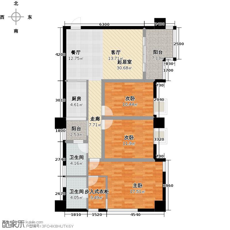 木鱼石水木年华户型3室2卫1厨