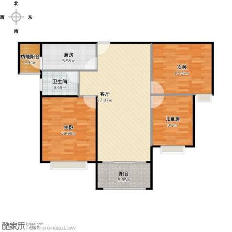 合景领峰3室1厅1卫1厨105.00㎡户型图