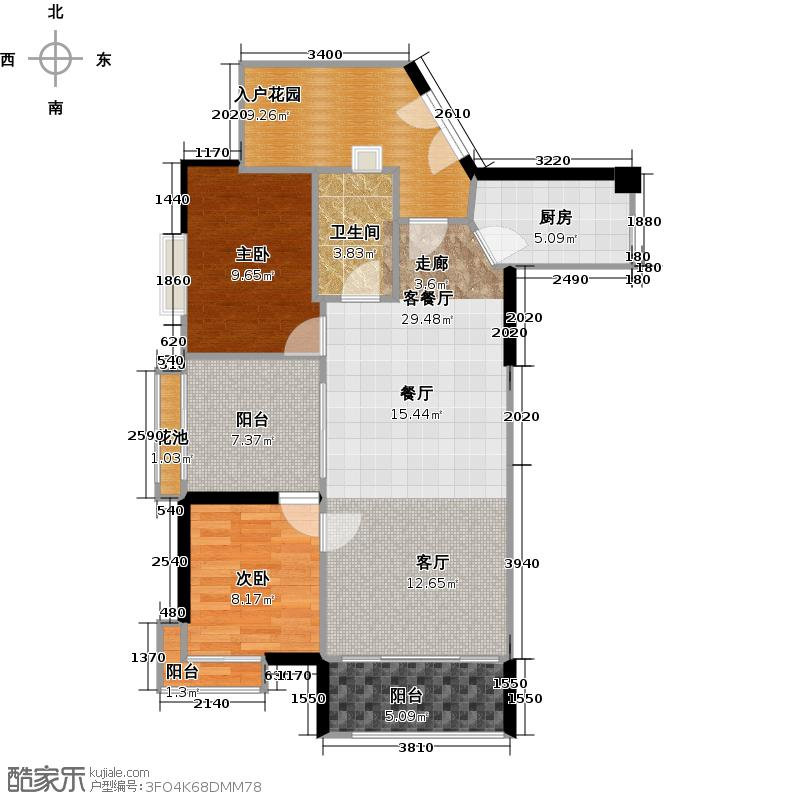 翠屏领东天河D04西南向户型2室1厅1卫1厨