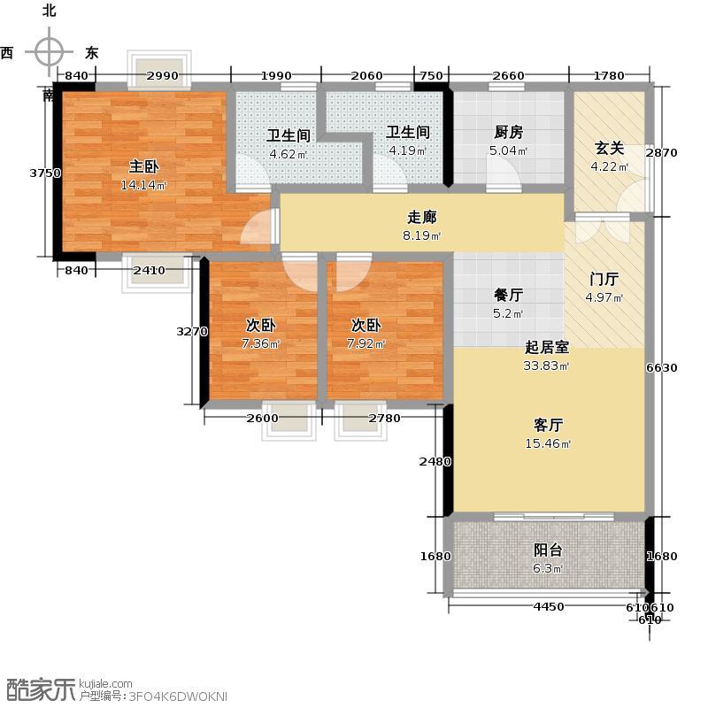 新一城广场100.00㎡G05户型3室2厅2卫