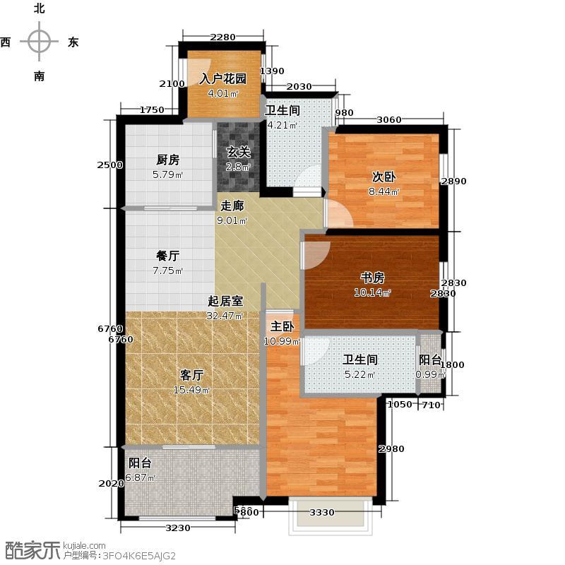 南湖左岸E1双卫户型3室2卫1厨