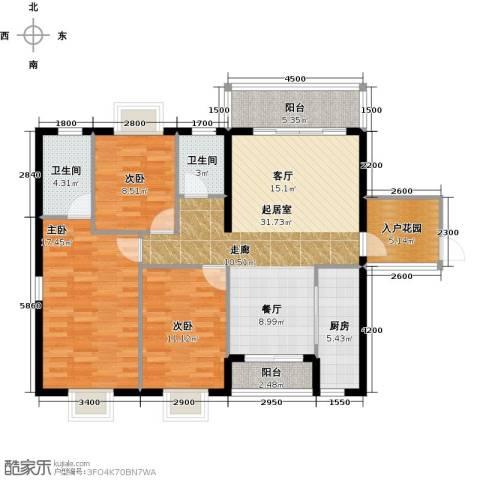 金城广场3室0厅2卫1厨120.00㎡户型图