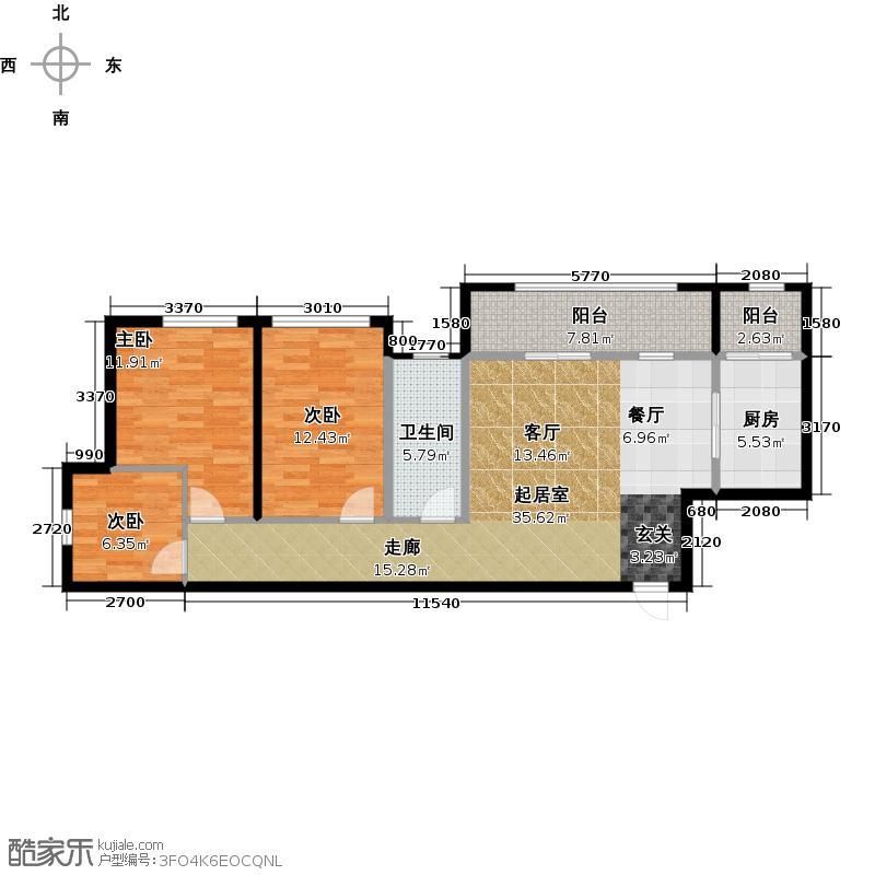 南湖左岸B1户型3室1卫1厨