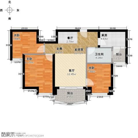 福鼎碧桂园3室0厅1卫1厨88.00㎡户型图