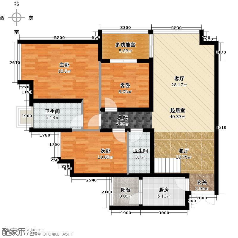 银鑫莲花半岛2栋E2型(下)32F户型3室2卫1厨