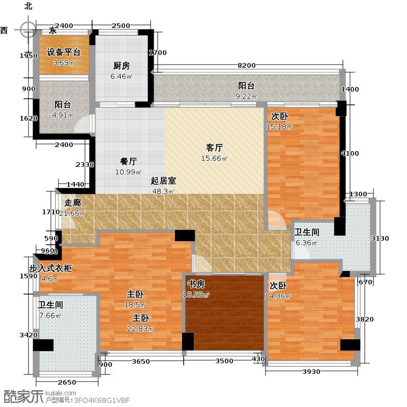 十五�花园171.00㎡G4-15层 4房2厅2卫户型