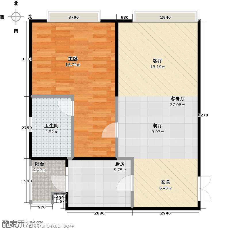 日月光解放碑1号电商特惠房源A3/6130/户型1室1厅1卫1厨