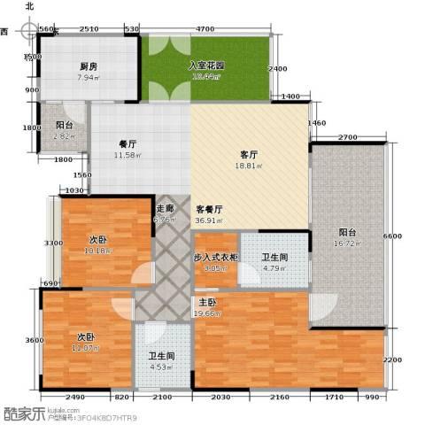 协信阿卡迪亚君临天下3室1厅2卫1厨172.00㎡户型图