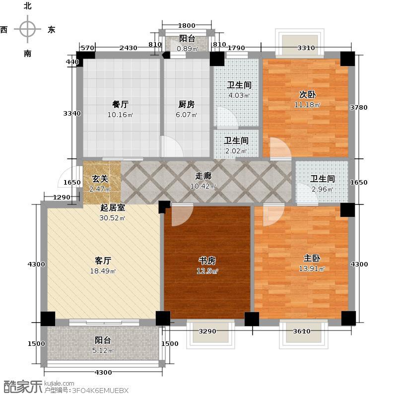 攀华未来城C标准层户型3室1厅2卫1厨