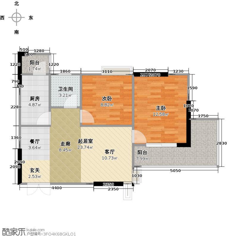 怡景城市花苑10栋楼C1户型2室1卫1厨