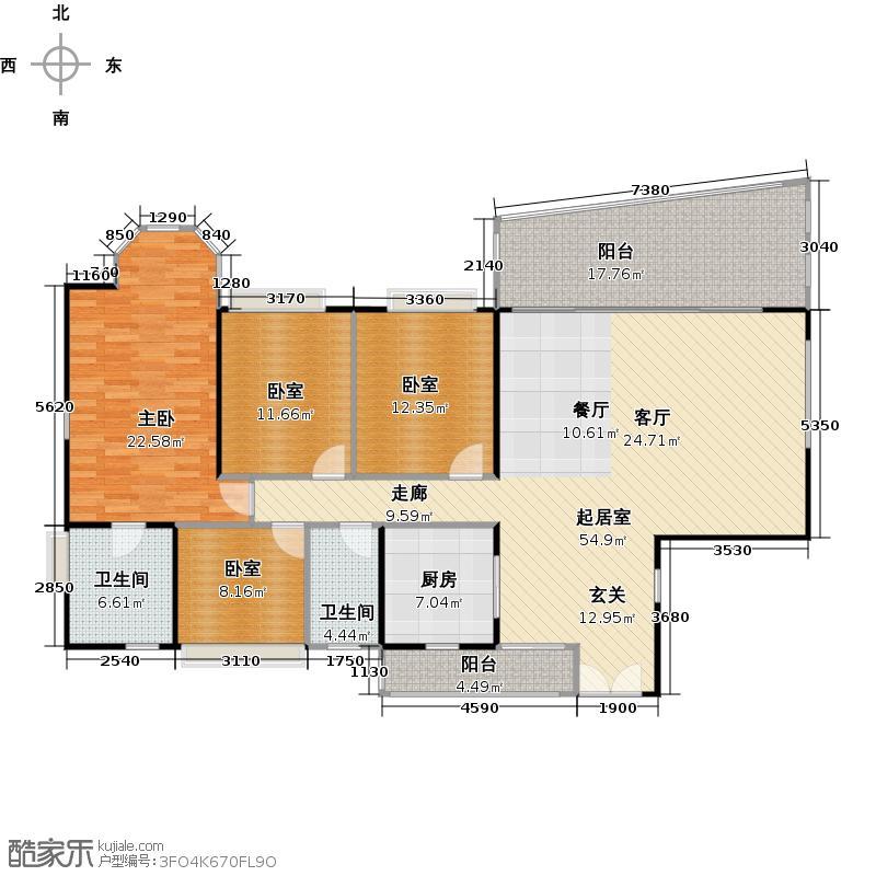 珠江御景湾A1户型1室2卫1厨