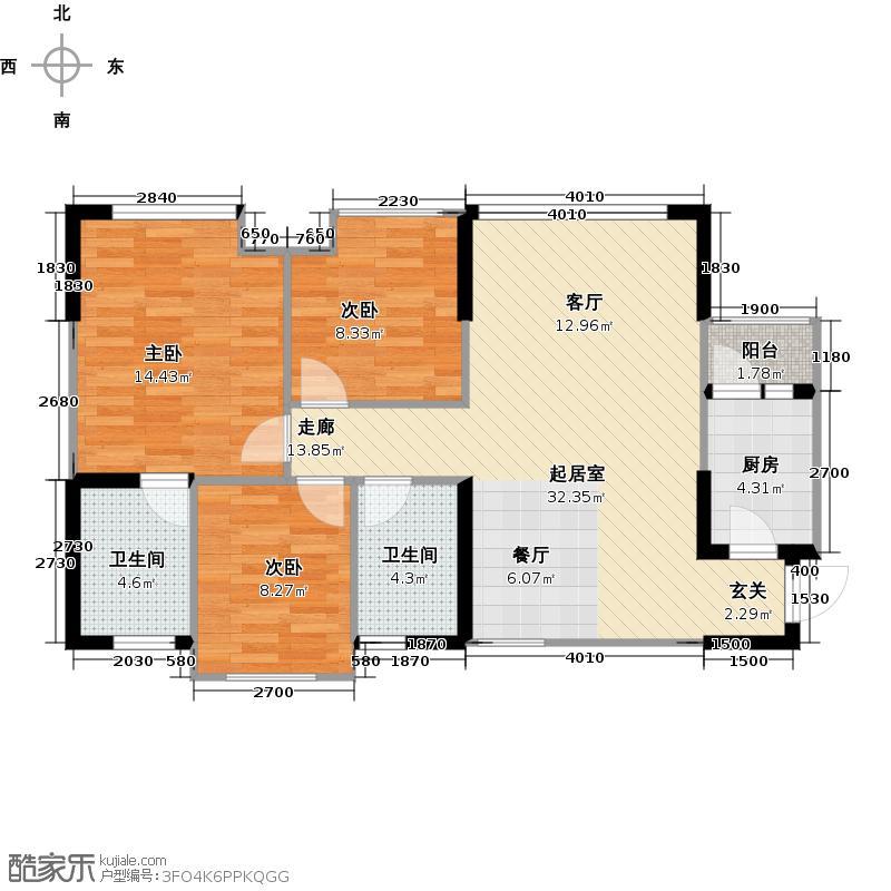 中铁银杏广场C1双卫户型3室2卫1厨