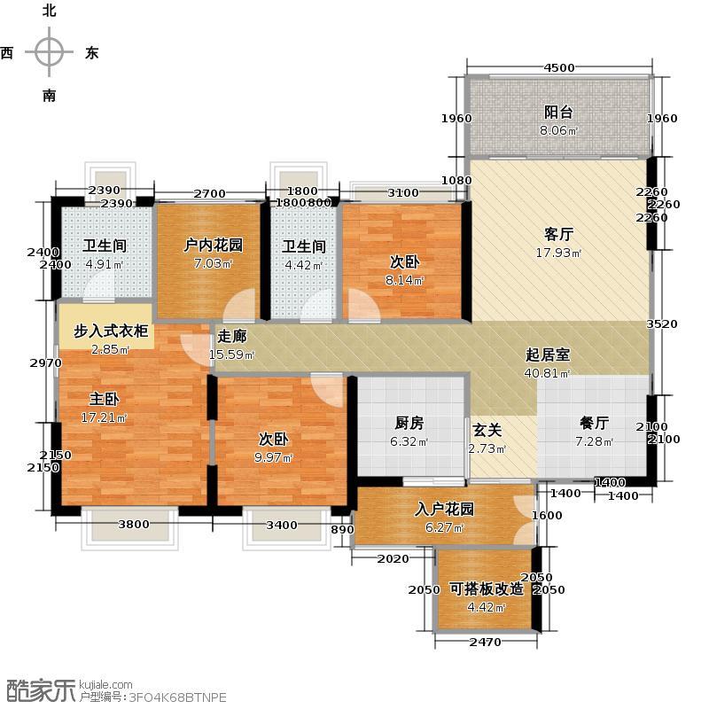 阳光天健城1栋CD座、3栋AB座-D户型3室2卫1厨